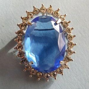 Vintage Ceylon Sapphire color pendant brooch pin